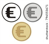 set of isolated coins with the... | Shutterstock .eps vector #796553671