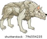 isolated white strong warg on... | Shutterstock .eps vector #796554235