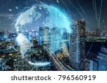 modern city skyline and global... | Shutterstock . vector #796560919