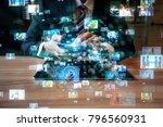 social media concept. | Shutterstock . vector #796560931