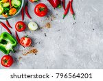 cooking vegetables on the stone ...   Shutterstock . vector #796564201