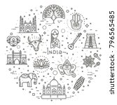india icons set. indian... | Shutterstock .eps vector #796565485