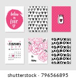 collection of black and pink... | Shutterstock .eps vector #796566895
