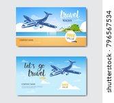 travel agency template vouchers ... | Shutterstock .eps vector #796567534