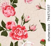 peony and roses vector seamless ... | Shutterstock .eps vector #796571557