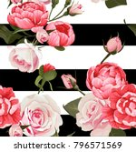 peony and roses vector seamless ... | Shutterstock .eps vector #796571569
