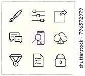 web interface line icons set... | Shutterstock .eps vector #796572979