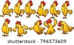 yellow chicken walk and jump... | Shutterstock .eps vector #796573609
