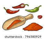 chilli whole  half  slice and... | Shutterstock .eps vector #796580929