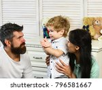 parents and son with interested ... | Shutterstock . vector #796581667