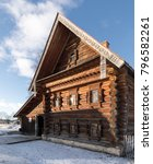 Small photo of Ancient wooden Russian hut in winter. Old wooden house in Russia. Museum of wooden architecture in Suzdal. Suzdal. The house of a prosperous peasant of the XIX century.