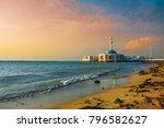 Seashore mosque with sunset background in Jeddah, Saudi arabia