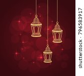 three gold lanterns fanous on... | Shutterstock .eps vector #796583917