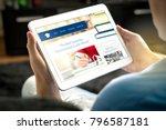 school website on tablet screen.... | Shutterstock . vector #796587181