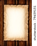 Background - Old crumpled paper on wood - stock photo