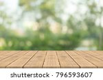 empty wood table top on nature...   Shutterstock . vector #796593607