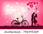 cute couple in love hugging ... | Shutterstock .eps vector #796595209