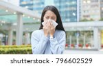woman runny nose at outdoor  | Shutterstock . vector #796602529