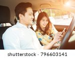 young couple on the red car ...   Shutterstock . vector #796603141