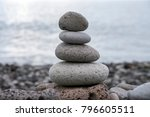stone cairn tower  poise stones ... | Shutterstock . vector #796605511