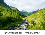 the mountain river. a fast...   Shutterstock . vector #796605964