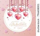 happy valentines day typography ... | Shutterstock .eps vector #796608001