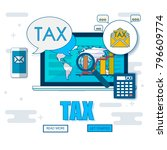 state taxes. tax payment.... | Shutterstock .eps vector #796609774