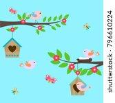 vector illustration with birds... | Shutterstock .eps vector #796610224