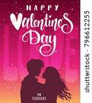 romantic silhouette of loving... | Shutterstock .eps vector #796612255