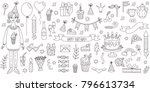 birthday party symbols doodle... | Shutterstock .eps vector #796613734