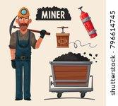 coal mining. miner character... | Shutterstock .eps vector #796614745