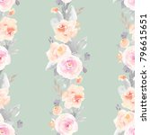 watercolor flower pattern on... | Shutterstock . vector #796615651