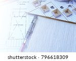 working on process house plan... | Shutterstock . vector #796618309