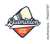 badminton logo with text space... | Shutterstock .eps vector #796620787