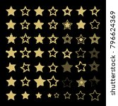 set of golden stars on black... | Shutterstock .eps vector #796624369