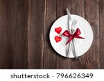 valentines day table setting... | Shutterstock . vector #796626349
