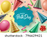 birthday background design with ... | Shutterstock .eps vector #796629421