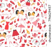 valentine's day pattern made... | Shutterstock .eps vector #796629457