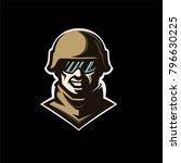 military soldier logo mascot...   Shutterstock .eps vector #796630225