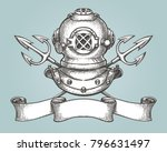 helmet with tridents and ribbon ... | Shutterstock . vector #796631497