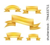 realistic golden ribbons set.... | Shutterstock .eps vector #796633711