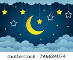 Stock vector half moon stars and clouds on the dark night sky background paper art garland with stars vector 796634074