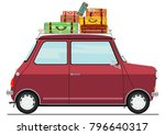 cartoon retro car. side view.... | Shutterstock .eps vector #796640317
