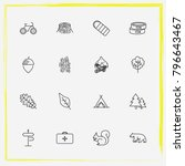 camping line icon set medicine  ... | Shutterstock .eps vector #796643467