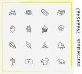 camping line icon set medicine  ... | Shutterstock .eps vector #796643467