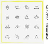 camping line icon set christmas ... | Shutterstock .eps vector #796643491