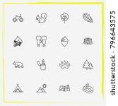 camping line icon set map  fir... | Shutterstock .eps vector #796643575