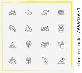 camping line icon set tree leaf ... | Shutterstock .eps vector #796643671