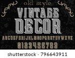 vintage font typeface... | Shutterstock .eps vector #796643911