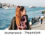 beautiful young woman looking... | Shutterstock . vector #796644349